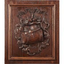 antique carved oak panel relief