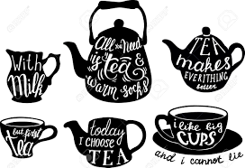 Vector Cute Tea Quotes And Sayings Typography Set Illustration