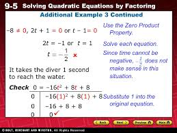 28 9 5 solving quadratic equations by factoring additional example 3 continued 8