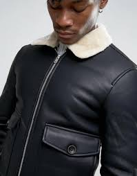 pull bear faux leather aviator jacket with fur collar in black in gallery