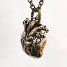 anatomical heart pendant necklace bronze