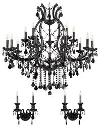 3 piece set jet black crystal chandelier and 2 wall sconces pertaining to elegant property wall sconce chandelier prepare