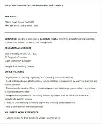 Teaching Resume Examples Substitute Teacher Resume Examples Sample