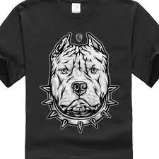 Men S Pitbull T Shirt Black Art Tattoo Ink Skull