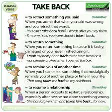 Take Back Phrasal Verb Meanings And Examples Woodward English
