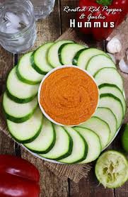 no tahini on hand to whip up a batch of hummus well no worries at least not with this recipe for tastebud tingling roasted red pepper garlic hummus