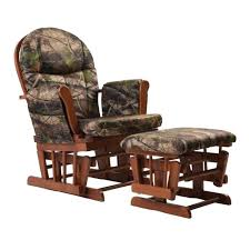 glider chair ottoman home deluxe camouflage fabric cushion cherry wood s