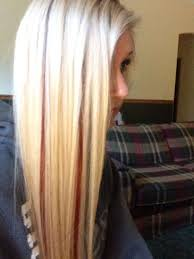 My hair. Blonde hair with red peekaboos! | Platinum blonde hair, Hair,  Blonde hair