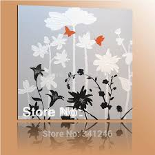 hand painted modern home wall art decoration for living room bedroom white lotus leaves flower