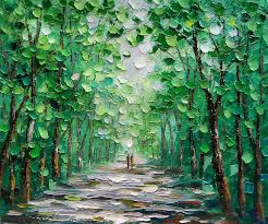 landscape painting palette knife oil painting forest landscape by enxu zhou