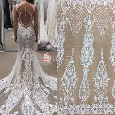 embroidered wedding dress. High Quality Ivory Abstract Pattern Embroidered Bridal Lace Sold by