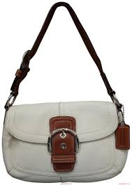 Online Coach 1941 Saddle Soho Pebbled Handbag Flap Shoulder White Leather  Hobo Bag aJE2JayR