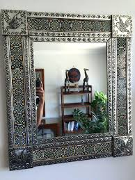 tin mirror folk art punched tin tile framed mirror tin mirror frame