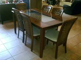 wooden dining table with glass top india
