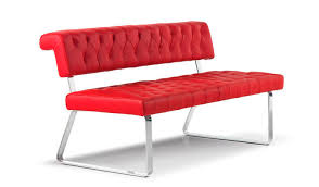 contemporary upholstered bench leather with backrest red janet