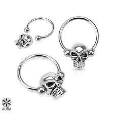 Skull Captive Bead Ring Horseshoe Circular Barbells For