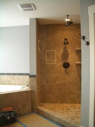 Bathrooms Without Tiles Corner Shower Design Ideas M Seamless Glass Corner Shower Square