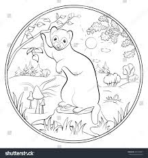 Coloring Page Cute Ferret Stock Vector Royalty Free 461208997