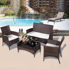 indoor outdoor wicker rattan furniture. 4 pcs outdoor patio rattan table sofa set with cushions - furniture sets indoor wicker
