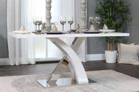 atlanta chrome metal and white high gloss 6 seater dining table