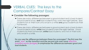 compare and contrast essay writing purpose to reveal verbal cues the keys to the compare contrast essay 61620 consider the following passages