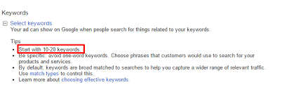 Word With Ad How Many Keywords Should Be In Your Ad Group Karooya