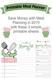 Printable Meal Planner For 2019