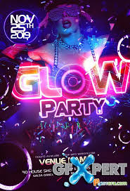 Free Party Flyer Templates Free Party Flyer Template Psd Neon Glow Download