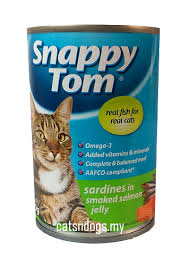 snappy tom my based online pet supply store  0 4 st5220 snappy tom sardines in smoked salmon jelly 400g
