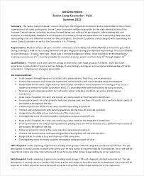 9 Camp Counselor Job Description Samples Sample Templates