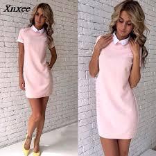 <b>2018</b> New <b>Women</b> office work white collar OL shirt dress Summer ...