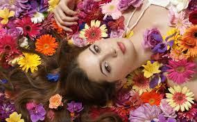 Wallpaper Girl lying flowers 2560x1600 ...