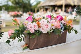 Wedding Flowers Ideas, Colorful Spring Wedding Flower Arrangements In  Wooden Square Box Combined With Light ...