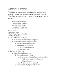 Alphanumeric Outline Mla Apa Outline Format Examples Examples
