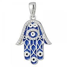 925 silver dark blue enamel fatima hand tip evil eye pendant pd0005