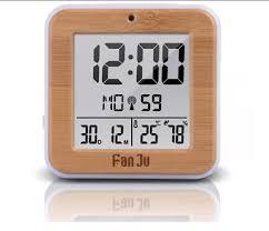 digital lcd wall clock temperature