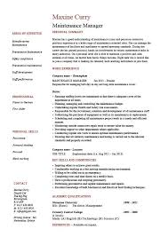 maintenance resume samples maintenance manager resume example job description samples