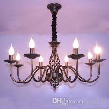 vintage wrought iron chandelier e14 candle light lamp black white metal lighting fixture large pendant contemporary pendant light from jess234