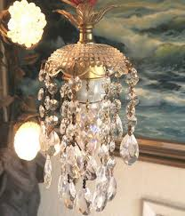 vintage lamp chandelier hanging jelly fish brass crystal glass prism 30 cord
