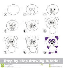 Cours De Dessin Comment Dessiner Un Panda Illustration De Vecteur