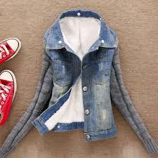 Us 16 52 48 Off Denim Pockets Coat Women Jacket Plus Size Xxxxxl Winter Warm Thick Jeans Button Knit Sleeve Cowboy Psept7 In Jackets From Womens