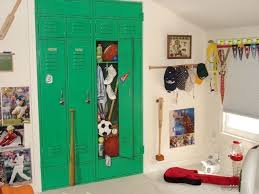 custom made closet doors painted trompe l oeil style to be a sports locker