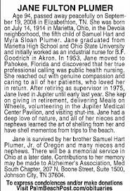 Obituary for JANE FULTON PLUMER, 1914-2008 (Aged 94) - Newspapers.com