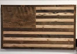 original stained wood american flag given minimalist