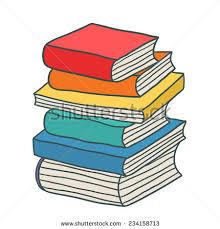 cartoon hand drawn stack of books