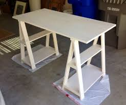 sawhorse desk painted with white colored