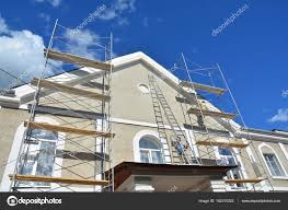 Painting And Plastering Exterior House Scaffolding Wall Home - Plastering exterior walls