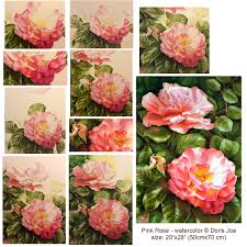 how to create a complex rose painting full bloom with bud and leaves