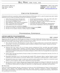 Executive Summary Resume
