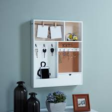 entryway white mdf key mail holder wall organizer